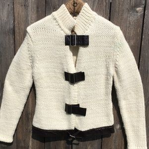 Chunky Cream Buckle Front Sweater